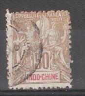 INDOCHINE 1900, Type Groupe 50 C  Bistre, Yvert N° 21, Obl  ,avec VARIETE Perforation - Gebraucht