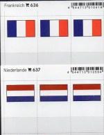 In Farbe 2x3 Flaggen-Sticker Niederlande+RF 4€ Kennzeichnung Alben Karten Sammlung LINDNER 636+637 Flag Nederland France - Materiaal