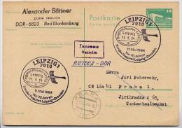 70 J. SONDERFLUGPOST LEIPZIG-DRESDEN 1984 Auf DDR P84 Postkarte Nach Prag ZURÜCK - Covers