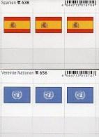 In Farbe 2x3 Flaggen-Sticker Spanien + UNO 4€ Kennzeichnung Von Alben Karten Sammlungen LINDNER 656+638 Flags Espana ONU - Materiaal