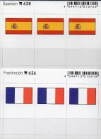 In Farbe 2x3 Flaggen-Sticker Frankreich+Spanien 4€ Kennzeichnung Alben Karte Sammlung LINDNER 638+636 Flag Espana France - Materiaal