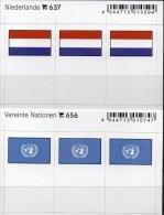 In Farbe 2x3 Flaggen-Sticker UNO+Niederlande 4€ Kennzeichnung Alben Karten Sammlungen LINDNER 637+656 Flag Nederland ONU - Materiaal