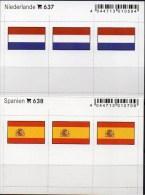 In Farbe 2x3 Flaggen-Sticker Spanien+Niederlande 4€ Kennzeichnung Alben Karten Sammlung LINDNER 637+638 Nederland Espana - Materiaal