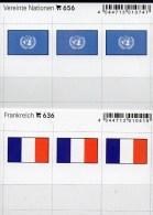 In Farbe 2x3 Flaggen-Sticker Frankreich+UNO 4€ Kennzeichnung Von Alben Karten Sammlungen LINDNER 656+636 Flag FRANCE ONU - Materiaal