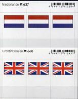 In Farbe 2x3 Flaggen-Sticker Niederlande+GB 4€ Kennzeichnung Von Alben Karten Sammlung LINDNER 660+637 Flag Nederland UK - Materiaal