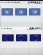 In Farbe 2x3 Flaggen-Sticker UNO+Europa 4€ Kennzeichnung Von Alben Karten Sammlung LINDNER 655+656 Flags CEPT ONU - Materiaal