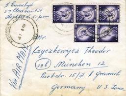 USA 1960 - 5 Fach Frankierung + Christmas Verschlußmarken Auf LP-Brief Hartford > München - Argentinien
