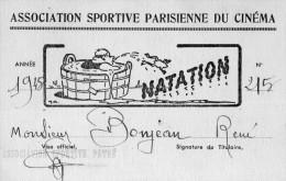 Carte De Natation.  12 X 8 Cms. Association Sportive Parisienne Du Cinéma. 1945 - Natation