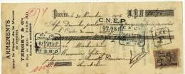 Mandat à En-tête Publicitaire Armements Pour La Pêche De La Morue Target & Cie Paris Dunkerque 1906 Timbre 5c - 1900 – 1949