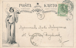 342/22 -- BELGIQUE ESPERANTO - Carte Illustrée Du Antverpena Grupo Esperantista 1903 - TP Armoiries ANVERS 1905 - Esperanto