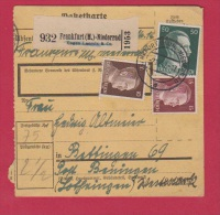 ALLEMAGNE  //  COLIS POSTAL   //  DE FRANKFURT  // POUR  BENING   // 4/12/1942 - Allemagne