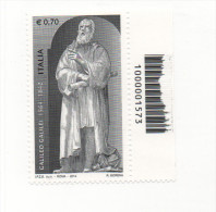 Fra553 450° Anniversario Nascita Galileo Galilei, Astronomia Astronomy, Codice A Barre Evanescente Errore Varietà, Error - Abarten Und Kuriositäten