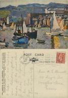 Slipway, St Ives, Cornwall, England Postcard Posted 1951 Stamp John A Park Star Textured Art Card - St.Ives