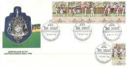 (PH 484) Australia - 1988 - Queensland Sheffield Shield Final - Cricket Stamps - The Gabba - Australia