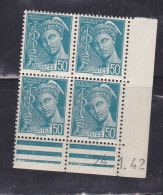 FRANCE N°538 50C TURQUOISE TYPE MERCURE COIN DATE DU 24.1.1942 NEUF SANS CHARNIERE - Coins Datés
