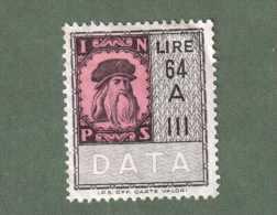 MARCA DA BOLLO INPS LIRE 64 SERIE A III LEONARDO DA VINCI 1963 ROSA - Erinofilia