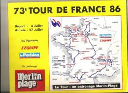 TOUR DE FRANCE  1986    -   Road Book 112  Pages - Format 28  X 23  . ( + Port ) - Cycling
