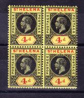 St Helena 1913 S.G. # 85 ** In Viererblock - Sainte-Hélène