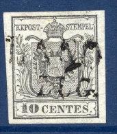 AUSTRIA: LOMBARDY VENETIA 1850 10 Cmi. Silver-grey With Good Margins, Used - 1850-1918 Empire