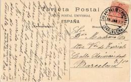 8193. Postal SAN ANDRES De LLAVANERAS (barcelona) 1913. Fechador Lujo - 1889-1931 Royaume: Alphonse XIII