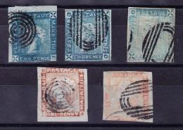Mauritius 1856/59 Lapirot 2 D. Blau Stadien (3) 1 D. Orange (2) 2-3 Randig Ansonsten Berührt SG# 23,38,39 - Maurice (...-1967)