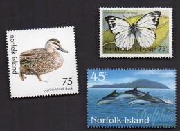 DT183 NORFOLK ISLAND LOT DE 3 TIMBRES NEUF** DAUPHIN PAPILLON CANARD DUCK - Norfolk Island