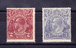 Australien  SG 78 * + 79 * - 1913-36 George V: Köpfe