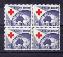 "Australien  1954 SG 276 ** Im Viererblock Mit Abart Unten Links ""gebrochenes Kreuz"" - 1952-65 Elizabeth II : Ed. Pré-décimales"