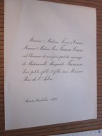 Anvers 26 Octobre 1895 FAIRE PART De Mariage De Personnalité Lire Titres Et Fonctions Honorifique - Boda