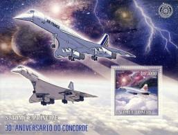 SAO TOME CONCORDE ANNIV ROTARY INTERNATIONAL PLANES AVIATION S/S MNH C6 STDL6101 - Transport