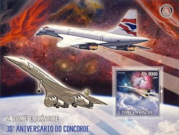 SAO TOME CONCORDE ANNIV ROTARY INTERNATIONAL PLANES AVIATION S/S MNH C6 STDL6102 - Unclassified