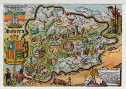ANDORRE - ANDORRA - Carte Géographique Dessinée - Cartes Géographiques