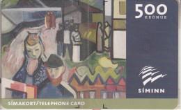 LISTASAFN ISL.(ICELAND)(chip) - Painting/Jon Engilberts(500 Kr.), Tirage 15000, 02/01, Mint