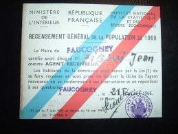 CARTE RECENSEMENT GENERAL DE LA POPULATION DE 1968 MAIRIE DE FAUCOGNEY (70 HAUTE-SAONE) - Old Paper