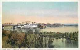 213799-Iowa, Madison, Mississippi River, Santa Fe Railroad Train Bridge, Fred Harvey By Detroit Publishing No 10969 - Ouvrages D'Art