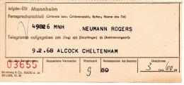 Germany 1968,  Telegram Receipt Mannheim - Cheltenham UK. Interesting - BRD