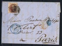 Belgium, Complete Letter 1855 Brussels -> Paris, Stamp Has Nice Margins - 1851-1857 Médaillons (6/8)