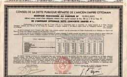 CONSEIL DE LA  DETTE PUBBLIQUE REPARTIE DE L'ANCIEN  EMPIRE  OTTOMAN - Azioni & Titoli