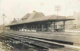 220037-Illinois, Sterling, Chicago & Northwestern Railroad Train Station Depot, Jurgens Photo No 24 - Gares - Sans Trains