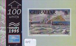 TEMBRE Sur Télécarte  * Stamp  On Phonecard GIBRALTAR (214) Briefmarke Auf TELEFONKARTE * WARSHIP - Timbres & Monnaies