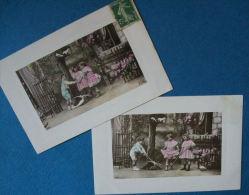CPA ENFANTS FAMILLE - LOT DE DEUX CARTES ENFANTS ET COLOMBES 1909 - Gruppen Von Kindern Und Familien