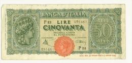 CARTAMONETA - PAPER MONEY - 1944 - 50 LIRE - QUALITY BB - NON STIRATA - 50 Lire 10/12/1944    Firme: Introna/Urbini - 50 Lire
