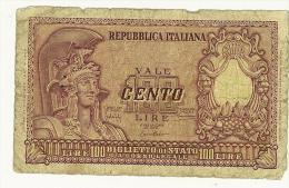 CARTAMONETA - PAPER MONEY  - 100 LIRE - QUALITY B - NON STIRATA 100 Lire 31.12.1951 Bolaffi/Cavallaro/Giovinco - [ 2] 1946-… : Republiek
