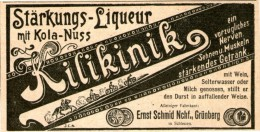 Original-Werbung/ Anzeige 1902 - KILIKINIK LIQUEUR / SCHMID - GRÜNBERG -  Ca. 90 X 50 Mm - Pubblicitari