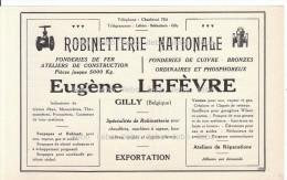 Publicités Plomberie Lefèvre Gilly Chaudronnerie Xhignesse Sclessin Liège Vapeur Pappens Mécoen Gand Recto Verso 1921 - Publicidad
