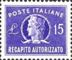 1949 Italia Repubblica Recapito Autorizzato Da Lire 15 Usato Filigrana Ruota - 6. 1946-.. Repubblica