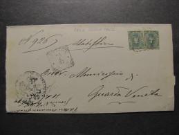 """ITALIA Regno-1891-96- """"Stemma"""" C. 5 Coppia CRESPINO>GUARDA VENETA (descrizione) - 1878-00 Umberto I"""
