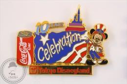 10 Years Celebration - Tokyo Disneyland Mickey Mouse - Coca Cola Pin Badge - Limited Edition - #PLS - Disney
