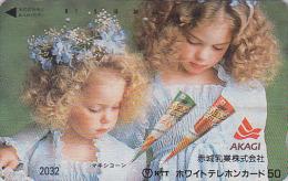 Télécarte Japon 7/11 - 2032 -  Enfants Fillettes Pub GLACE MAXICONE - ICE & Children Japan Phonecard - EIS & Kinder - Lebensmittel