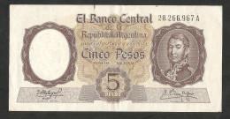 ARGENTINA - El BANCO CENTRAL De La REPUBLICA ARGENTINA - 5 PESOS - - Argentina